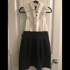 BCBGMaxAzria Black & White Tuxedo Dress